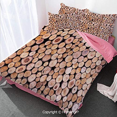 Rustic Home Decor Girl's Room Duvet Cover Set Twin Size,Mass of Wood Log Forest Tree Industry Group of Cut Lumber Ci,Decorative 3 Piece Bedding Set with 2 Pillow Shams Cream