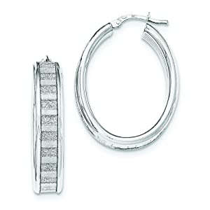 .925 Sterling Silver 34 MM with Glitter Infused Hoop Earrings