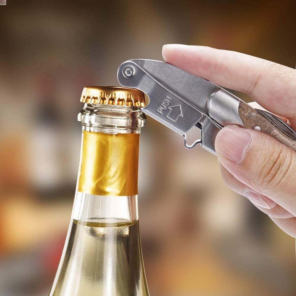 Hyber/&Cara/® 1 abridor de botellas hecho de acero inoxidable y caoba para botellas de cerveza y vino + 1 aspiradora de vino universal integrada Juego de accesorios para vino