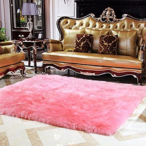 Amazon.com: Rectangle Faux Fur Sheepskin Area Rug Baby Bedroom Fluff ...