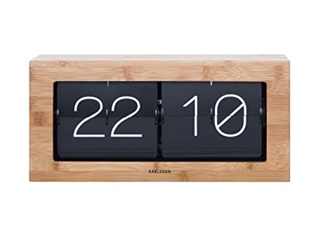 Karlsson Flip Clock Wall Desk Clock Bamboo Wooden Boxed