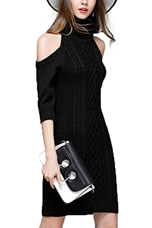 44a05bf444 Image Unavailable. Image not available for. Color  Sherrylily Women Sexy Knit  Cold Shoulder Cowl Neck Sheath Pencil Sweater Dress
