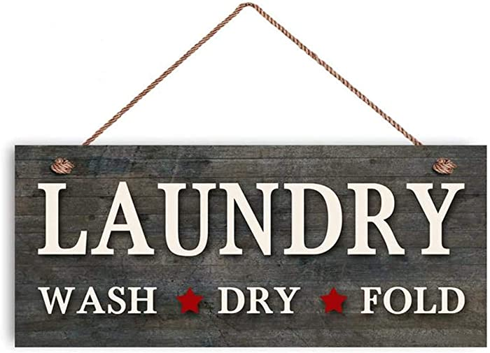 "MAIYUAN Laundry Sign, Rustic Clothes Laundry Room Sign, Weatherproof, 5""x10"", Housewarming Gift, Country Decor(UG1244)"