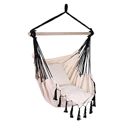 Wotryit Hammock Chair Macrame Swing Hand Made Swing Chair Prefect for Indoor Patio Deck Yard Garden Reading Leisure Cream,Best Gift for Mother, Girlfriend, for Superior Comfort Durability: Kitchen & Dining