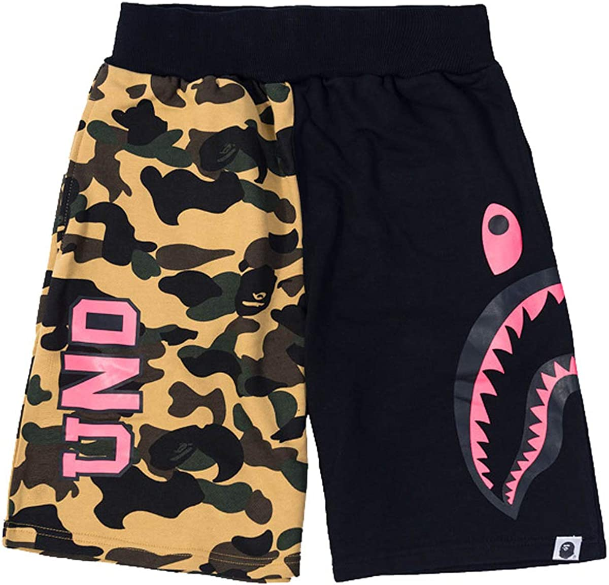Hot A Bathing Ape Men's/Women's Bape Shark Jaw Shorts Camo Print Color Pants Summer Beach Pants