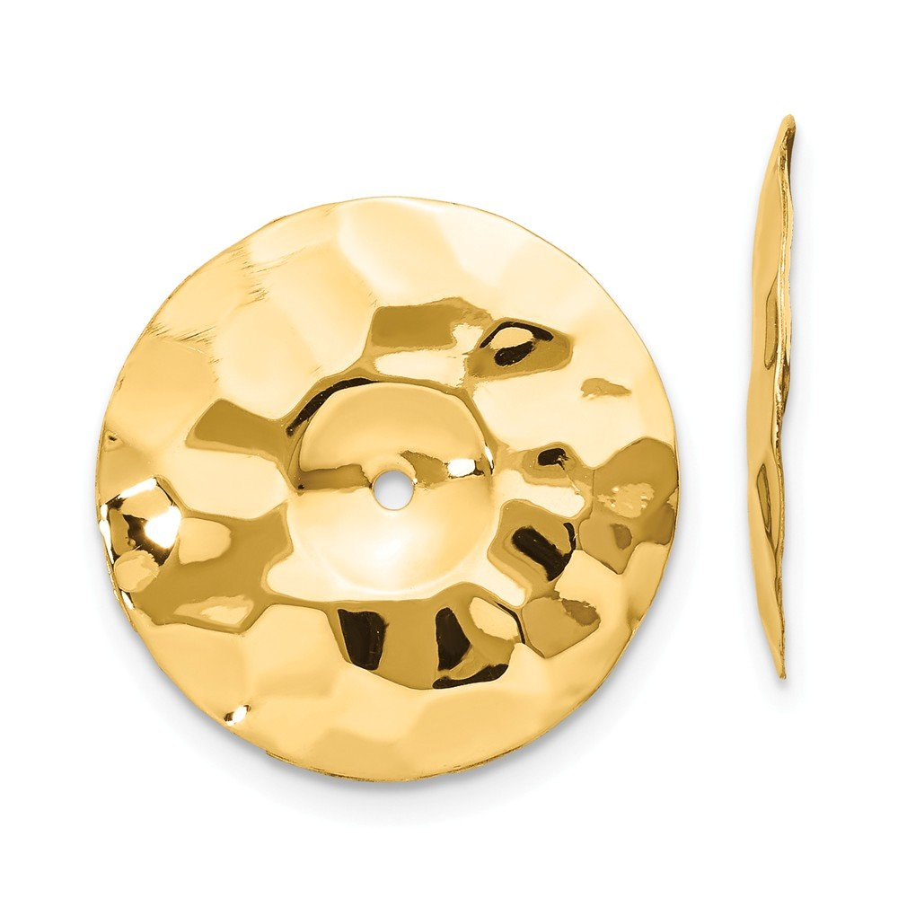 14K Yellow Gold Polished Hammered Disc Earring Jackets - (0.63 in x 0.67 in) by Jewel Tie
