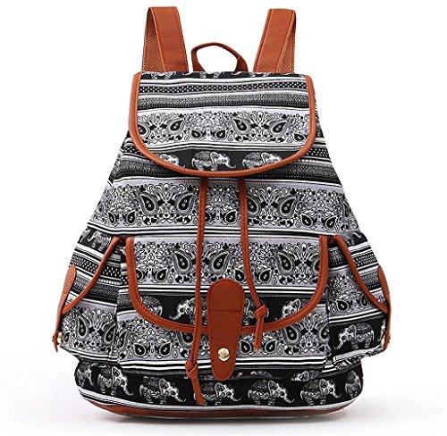 Unisex Mochila de Lienzo, Holacha Bolso Backpack Estilo Etnico Tradicional Retro D