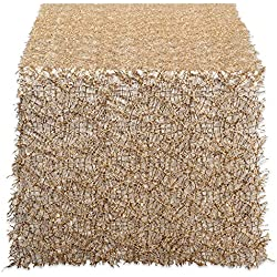 """DII Decorative Metallic Sequin Table Runner for Wedding, Holidays, Occasions, and Everyday Décor, 16x120"""", Gold"""