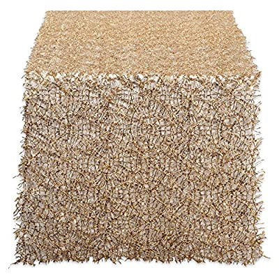 "DII CAMZ38207 Sequin Mesh Table Runner Roll, Gold - DECORATE YOUR TABLETOP - This beautiful table runner is 16x120"" long made with fabric mesh woven with sequins into a decorative design. CARE FOR YOUR SEQUINS - Made of 50% Polyester & 50% PVC, this is made for decoration only, shake briskly to clean. COLOR TO MATCH YOUR STYLE - Gold is a perfect choice for Thanksgiving, Christmas, New Years Eve, Wedding decor, even your favorite sports team, this sequin table runner is sure to add excitement to your dining, coffee, or entryway table. - table-runners, kitchen-dining-room-table-linens, kitchen-dining-room - 61YgINS1cgL. SS400  -"