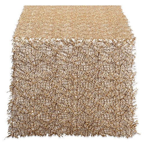 DII CAMZ38207 Sequin Mesh Table Runner Roll, Gold (Holiday Table Decorations)