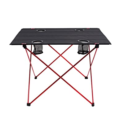 """Outry Lightweight Folding Table with Cup Holders, Portable Camp Table (L - Unfolded: 29.5"""" x 22"""" x 21"""") : Sports & Outdoors"""