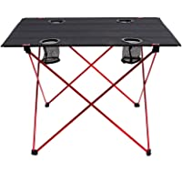Outry Lightweight Folding Table with Cup Holders, Portable Camp Table