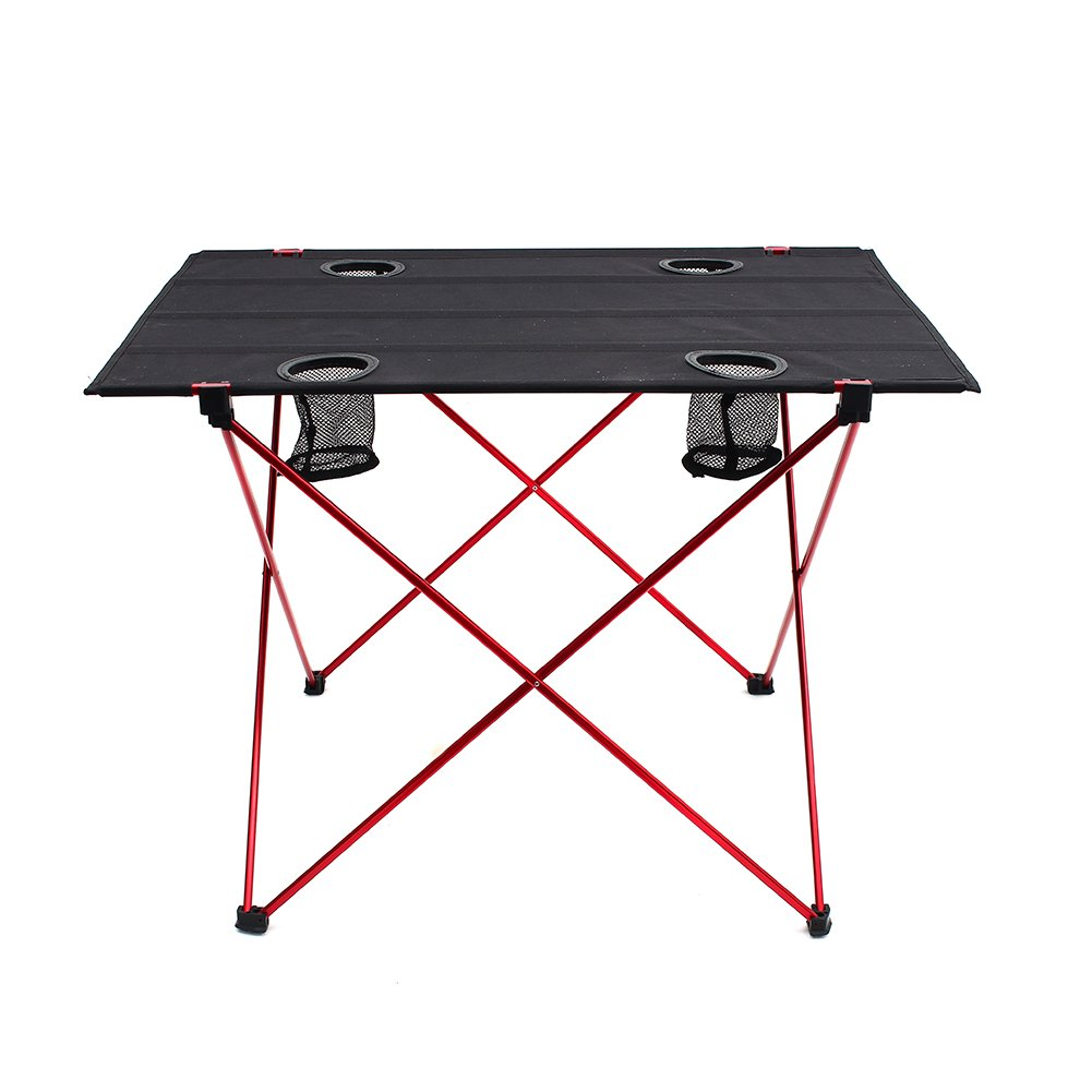 Outry Lightweight Folding Table with Cup Holders, Portable Camp Table (L - Unfolded: 29.5'' x 22'' x 21'') by Outry