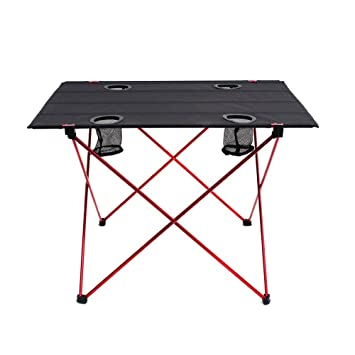 OUTRY Lightweight Folding Table With Cup Holders, Portable Camp Table (L    Unfolded: