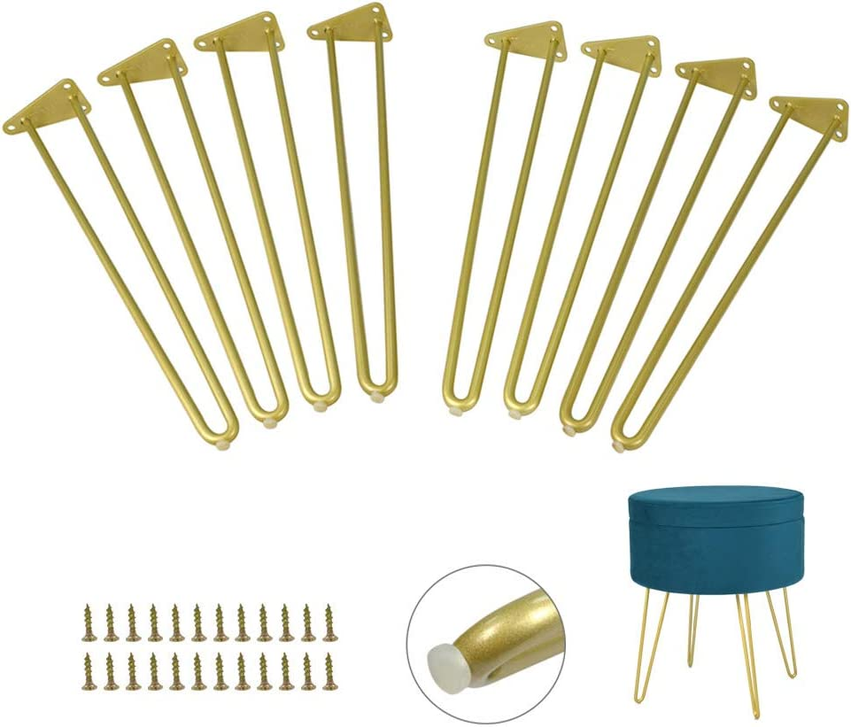 Heavy Duty Hairpin Furniture Leg 16 inch 2Pack x 4PCS Set Gold Metal Legs with Screws & Floor Protectors,DIY Projects for Coffee Table,End Tables,Bench,Sofa(8PCS)