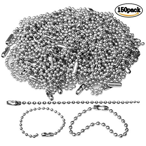 150 pcs 100mm Bead Connector Clasp,2.4mm Diameter Ball Chain Keychain Rings Metal Bead Chain Nickel Chain Dog Tag Chain ()