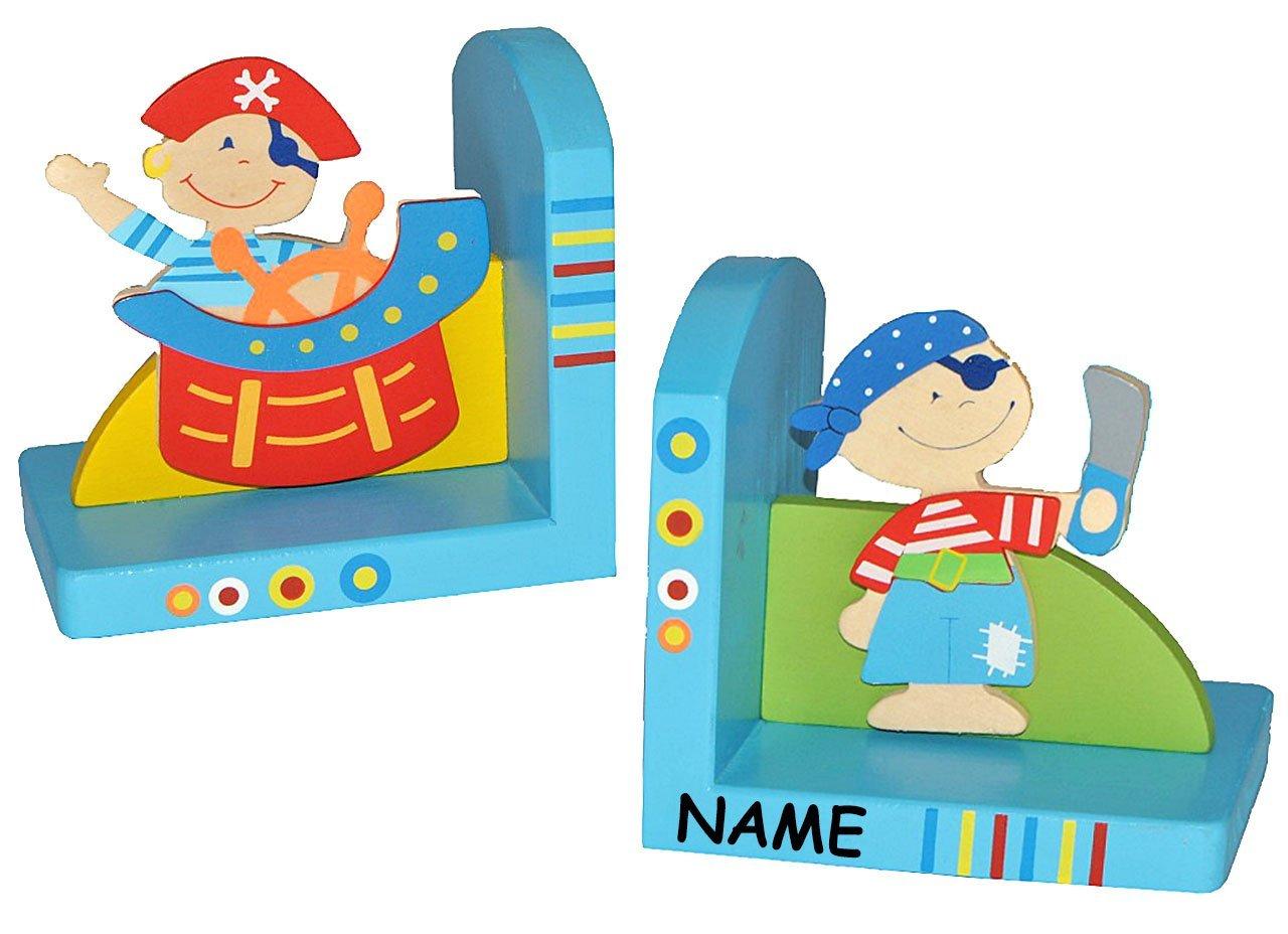 2 tlg. Set Buchstützen -  Piraten  - incl. Namen - aus Holz - Bücherstützen - Pirat / Buchstütze Holzbuchstütze - für Kinder Seefahrer Jungen Piratenschiff - Kinderzimmer - Bücherhalter / Bücher Kinder-land
