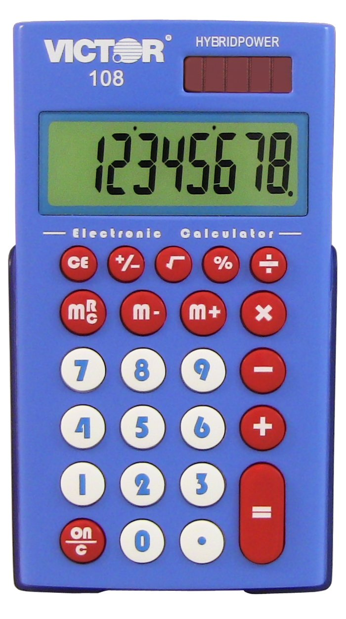 Teacher's Kit 10 Pack 8 Digit Pocket Calculator with Extra Large Display (108TK) Victor Technology