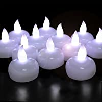 Novelty Place [Float on Water] Flameless Tealights, Battery Operated Floating LED Tea Lights Candles - Elegant White for Wedding, Centerpiece & Spa (Pack of 24)