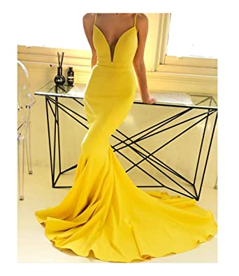 8d81f2914724 Sexy Spaghetti Straps V Neck Mermaid Prom Dresses Long 2019 Yellow Backless Formal  Evening Ball Gowns at Amazon Women's Clothing store: