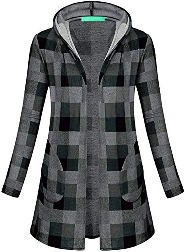 Womens Plaid Hooded Coat Autumn Winter Tops Knitting Long Sleeve Parka Cardigans Outwear Clearance Sale Gray, S