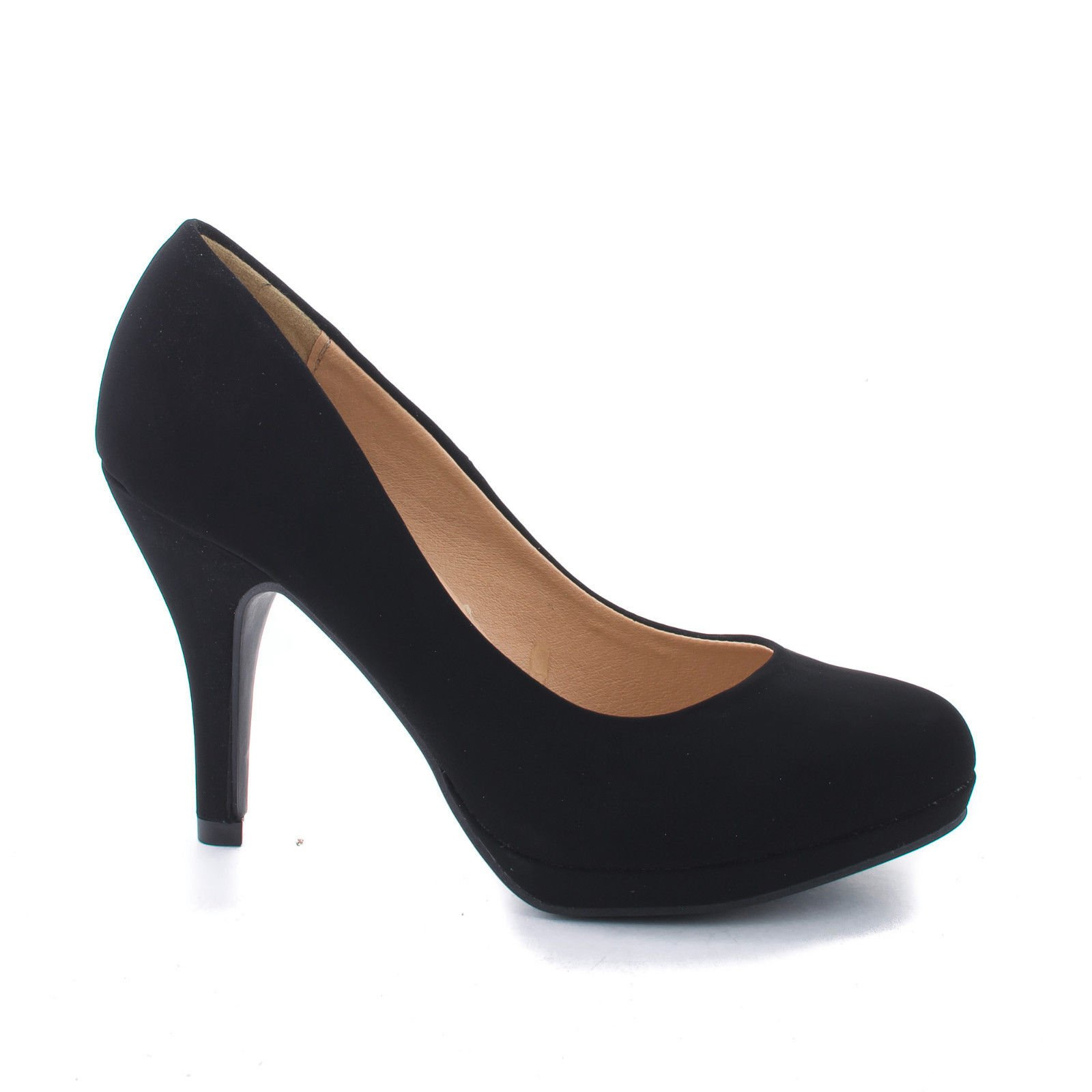 Round Toe Extra Cushioned Comfort Classic Dress Work Pumps,Color:BlackNubA,Size:7.5
