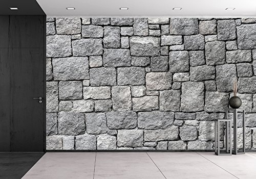 Old Gray Stone Wall Seamless Background Photo Texture