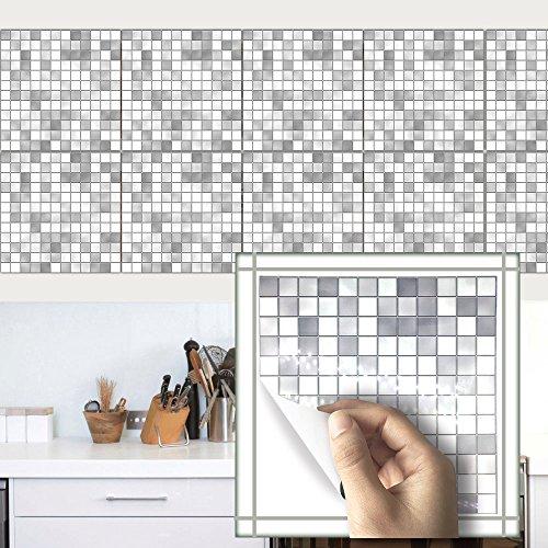 Funlife 10pcs×7.87×7.87inch Imitation marble furniture PVC Waterproof Self adhesive Wallpaper Kitchen Mosaic Tile Sticker Wall (light gray) - Imitation Marble