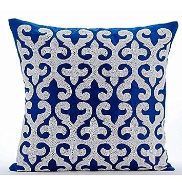 Amazon.com: Lujo Azul Fundas de Almohada, Arabic Pattern ...