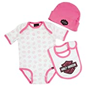 Harley-Davidson Baby Girl's Creeper Gift Box Set, Bar & Shield Logos 3000401