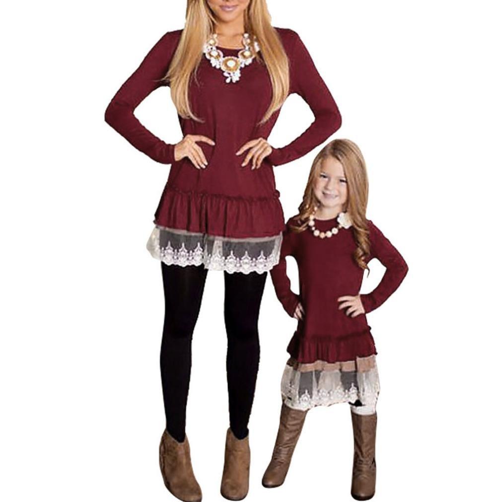iusunファミリOutfit Clothes MomMeレディースMomベビーガールズレースフリル付き長袖ブラウストップス B074YZL1LV Medium|Wine (Women)