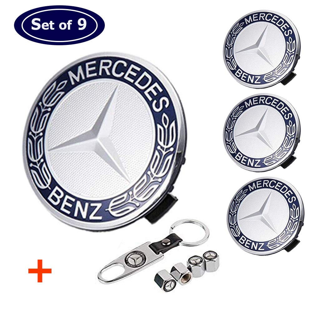 Aswelly Wheel Center Hub Caps Emblem Fit for Benz, 4PCS 75mm/2.95'' Rim Hub Cap Cover Logo + 4 PCS Tire Valve Covers Fit for Mercedes Benz All Models by Aswelly