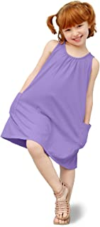 product image for City Threads Girl's A-Line Tank Summer Dress in All Cotton Perfect for Play Lounging or Beach Coverup