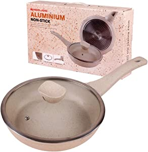 EnweLampi 24cm Frying Pan Integrated, Stockpots Woks & Stir Fry Pans, Volcanic Coating, with Bakelite Anti-Scald Handle Easy Clean Non-Stick