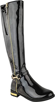 Riding Boots Gold Accent Shoes