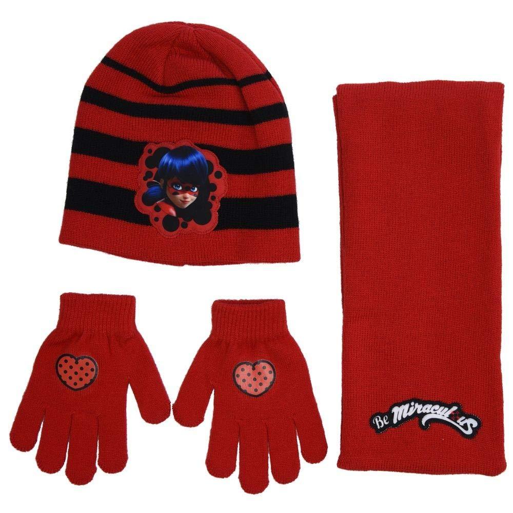3050b98ff7ce9 Miraculous Ladybug Ensemble écharpe, bonnet et gants fille - Rouge  5204679144477-AMA