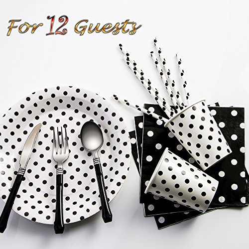 Luxcathy 12 Guests Dots Theme Party Disposable Dinnerware Set (Black) - Plates, Straws, Cups, and Cutlery Sets