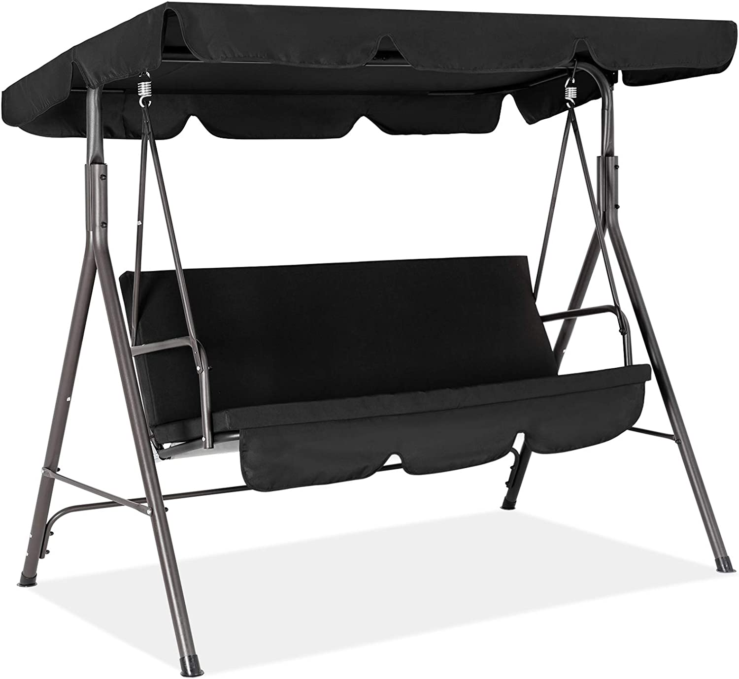 Fundouns 2-Person Patio Porch Swing Chair, Patio Swing with Canopy and Removable Cushions - Black