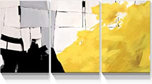 Looife 3 Panel Canvas Wall Art for Living Room - 3 Piece 12x16 Inch Abstract Black Yellow and White Hand Painted Artwork Prints Wall Decor, Ready to Hang