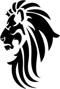 "Bargain Max Decals Lion Head Silhouette Decal Notebook Car Laptop 5.5"" (Black)"