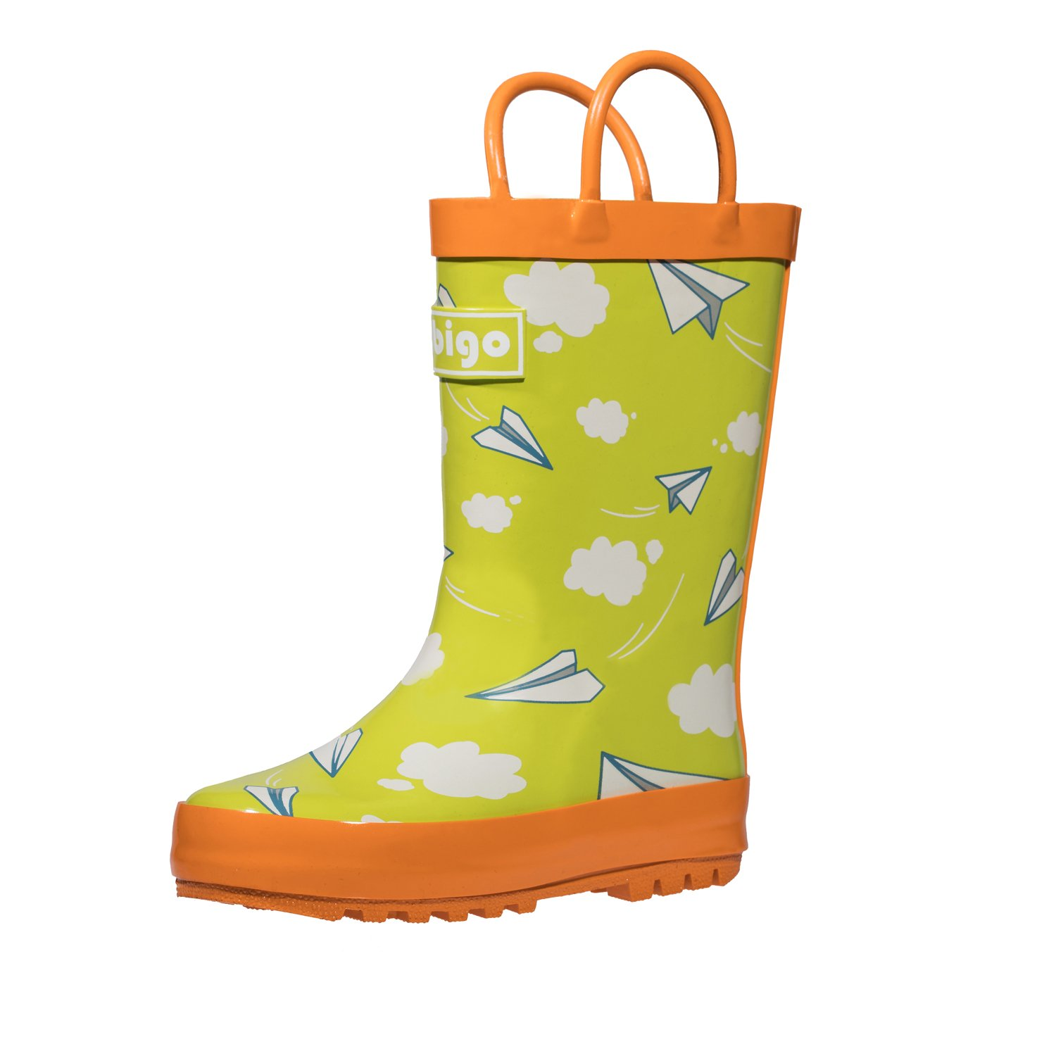 hibigo Children's Natural Rubber Rain Boots with Handles Easy for Little Kids & Toddler Girls, Paper Plane