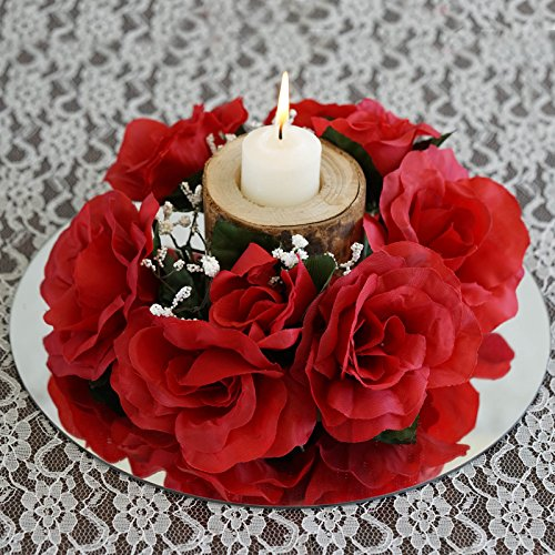 Efavormart 8 pcs Artificial ROSES Flowers Candle Rings Wedding Centerpieces - Black and Red