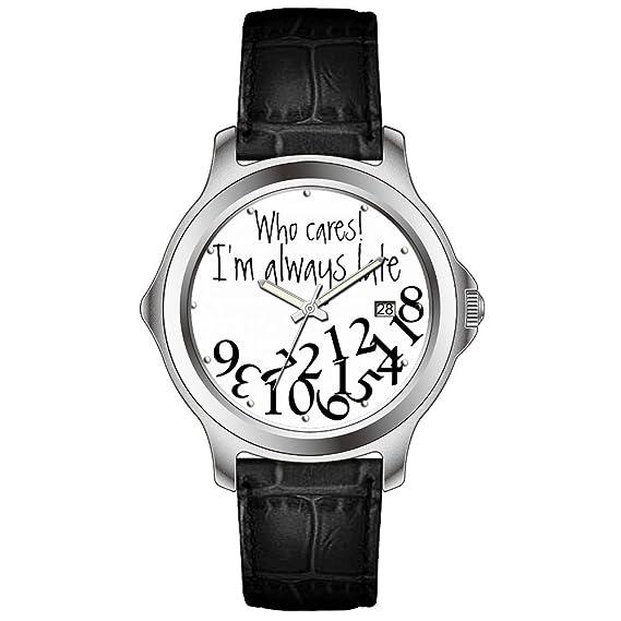 KSD personalizada personalizado regalo reloj Fashion FECHA de cuero negro banda reloj de pulsera de cuarzo