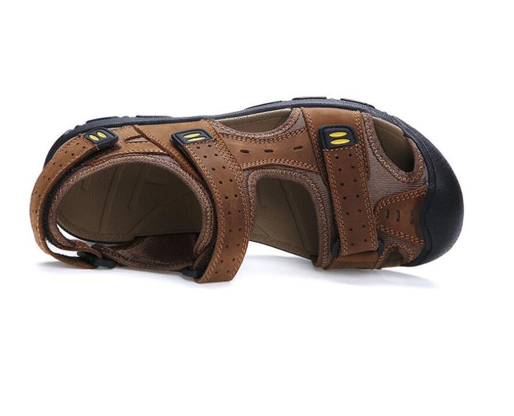 XIE Männer Schuhe aus echtem Leder Sandalen Sommer robuste Grip Grip robuste Velcro Straps Flip Flops Frühling Reisen Walking Outdoor Closed-Toe Trekking Größe 38 bis 46 362159