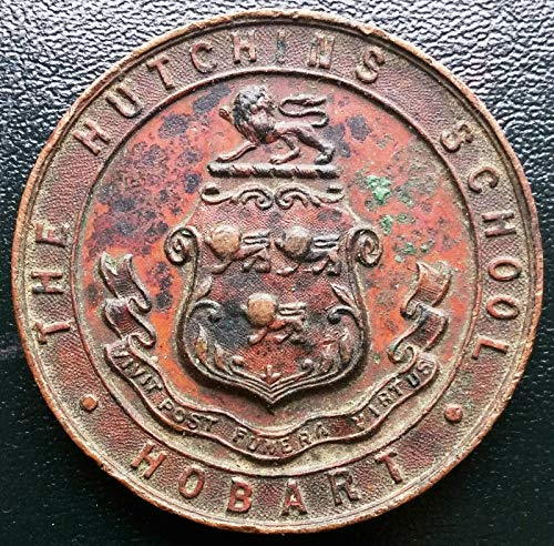 (1937 THE HUTCHINS SCHOOL HOBART PRIZE SWIMMING MEDALLION **VERY RARE**)