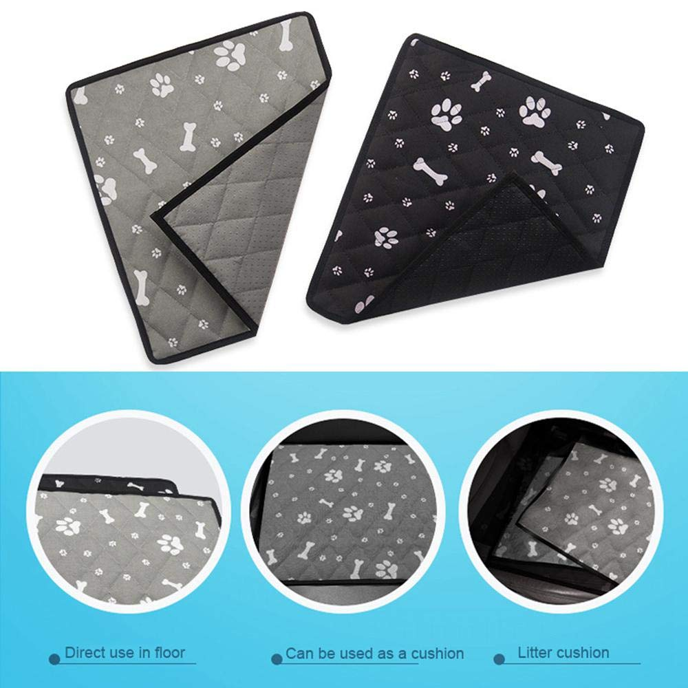 Pet Dog Self Cooling Mat Pad, Paw & Bone Printed Ice Silk Mat Pet Cooling Non Sticking Blanket, Keep Pets Dogs Summer Cool Comfort for Home and Travel, Car Seats, Crates and Beds
