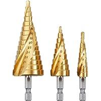 Rovtop Kit 3 Punte Coniche in Acciaio HSS per Trapano in Acciaio HSS, Punte Trapani 3 Pezzi di 4 - 12 / 20 / 32mm