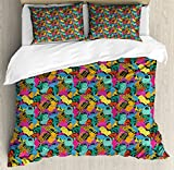 Safari King Size Duvet Cover Set by Lunarable, Funny Colorful Silhouettes Africa Fauna Elements Lion Monkey Giraffe Animals Pattern, Decorative 3 Piece Bedding Set with 2 Pillow Shams, Multicolor