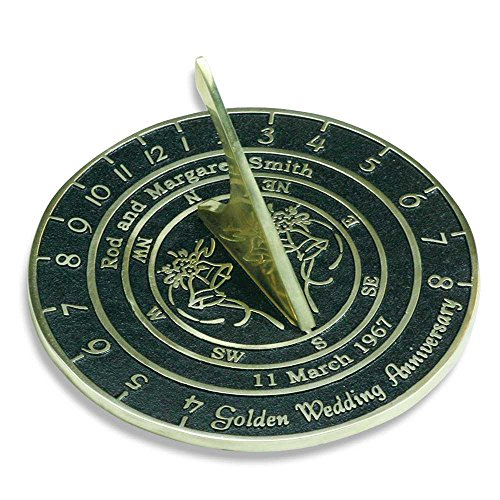 Personalised Wedding & Anniversary Sundial Gift Handmade In England By The Metal Foundry (Customised Gifts)