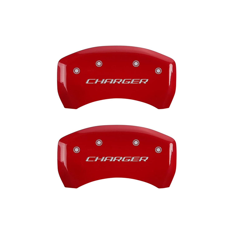 Set of 4 MGP Caliper Covers 12001SCHBRD Caliper Cover with Red Powder Coat Finish,